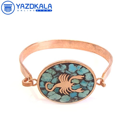 دستبند مسی  فیروزه کوب ماه تولد (آبان)