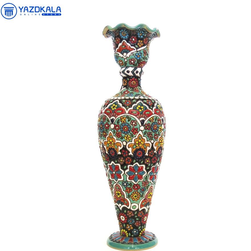 گلدان سفالی میناکاری شده  کد 1211