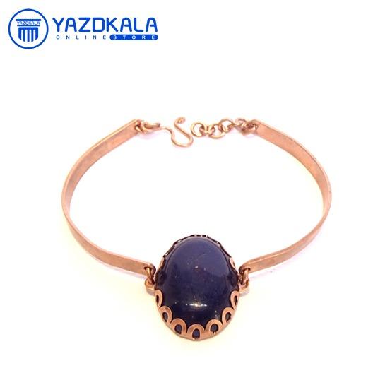 دستبند مسی سنگ هلالی آبی تیره