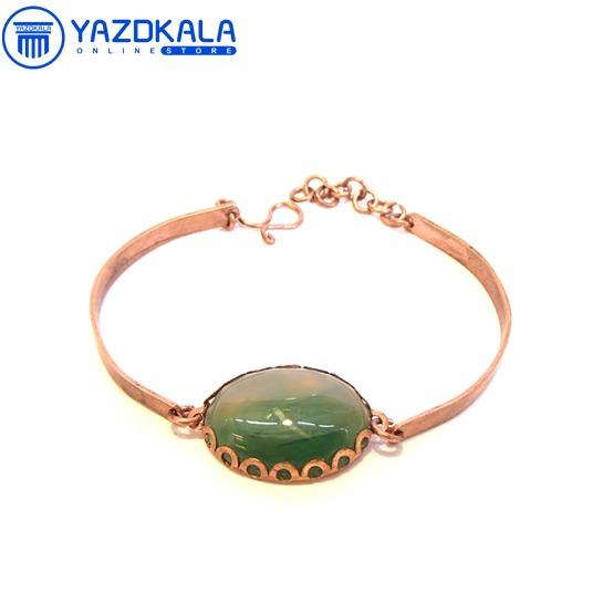 دستبند مسی سنگ هلالی سبز یشم
